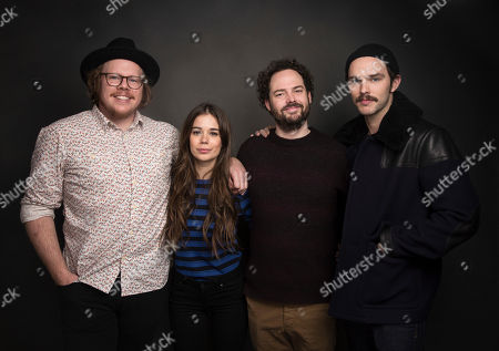 "Screenwriter Ben York Jones, from left, actress Laia Costa, director Drake Doremus and actor Nicholas Hoult pose for a portrait to promote the film, ""Newness"", at the Music Lodge during the Sundance Film Festival, in Park City, Utah"