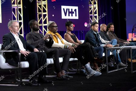 "John Strauss, from left, Sinqua Walls, Wood Harris, Afton Williamson, Tristan Wilds, Evan Handler, Antoine Harris and writer/director Seith Mann attend ""The Breaks"" panel at Viacom's VH1 portion of the Winter Television Critics Association press tour, in Pasadena, Calif"