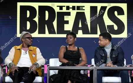 "Wood Harris, from left, Afton Williamson and Tristan Wilds attend ""The Breaks"" panel at Viacom's VH1 portion of the Winter Television Critics Association press tour, in Pasadena, Calif"