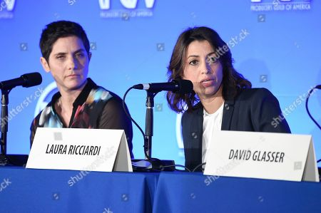Stock Image of Moira Demos, left, and Laura Ricciardi attend the 9th Annual Produced by Conference at Twentieth Century Fox, in Los Angeles