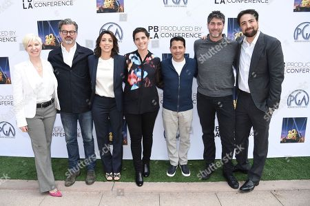 Rachel Klein, from left, Angus Wall, Moira Demos, Laura Ricciardi, David Glasser, Jason Goldberg and Bert Marcus attend the 9th Annual Produced by Conference at Twentieth Century Fox, in Los Angeles