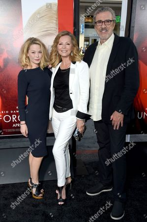 "Jordan Ladd, from left, Cheryl Ladd and Brian Russell arrive at the Los Angeles premiere of ""Unforgettable"" at the TCL Chinese Theatre on"