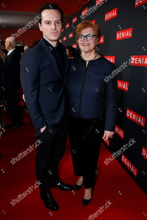 Stock Photo of Actor Andrew Scott and Professor Deborah Lipstadt, author of the novel 'Denial: Holocaust History on Trial', pose for photographers upon arrival at the Denial screening in central London