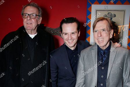 Actors Tom Wilkinson, from left, Andrew Scott and Timothy Spall pose for photographers upon arrival at the Denial screening in central London