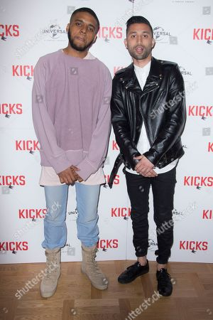 Christopher Jordan Wallace, left and Director Justin Tipping pose for photographers upon arrival at the UK premiere of Kicks at a cinema in east London