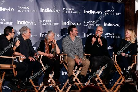 """Indiewire's Eric Kohn, from left, director Michael Almereyda, Lois Smith, Jon Hamm, Tim Robbins and Geena Davis from """"Marjorie Prime"""" talk during the """"Indiewire in Conversation"""" panel at Chase Sapphire on Main, during the 2017 Sundance Film Festival, in Park City, Utah"""