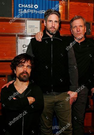Peter Dinklage, director Mark Palansky and Martin Donovan pose for a photo at the Indiewire Photo Studio at Chase Sapphire on Main, during the 2017 Sundance Film Festival, in Park City, Utah