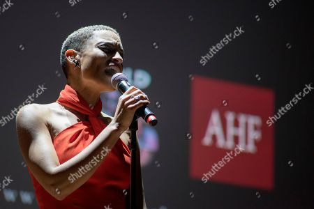 R&B sensation, Goapele opens an evening of intimate conversation and music at the launch of the national campaign, RISE Above sponsored by AIDS Healthcare Foundation and WORLD, in Oakland, Calif