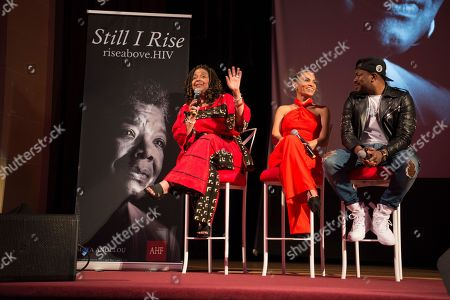 Grammy nominated artist Raheem DeVaughn, from right, joins R&B sensation Goapele and WORLD Executive Director, Cynthia Carey-Grant to lead a discussion on sexual health, wellness and healthy relationships at the launch of the national campaign, RISE Above sponsored by AIDS Healthcare Foundation and WORLD, in Oakland, Calif