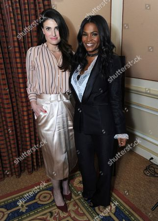 """Idina Menzel, left, and Nia Long posing for a portrait to promote their film """"Beaches"""" at the Winter Television Critics Association press tour in Pasadena, Calif. The film, a remake of the 1988 film starring Bette Midler and Barbara Hershey, airs Saturday on Lifetime"""