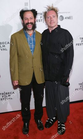 """Director Tabbert Fiiller, left, and John Lydon, known as Johnny Rotten, attend a screening of """"The Public Image is Rotten"""" at the Spring Studios during the 2017 Tribeca Film Festival, in New York"""