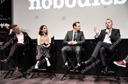 "Hugh Davidson, Rachel Ramras, Larry Dorf and Michael McDonald seen at TV Land's ""Nobodies"" FYC Panel at The London Hotel, in Los Angeles, CA"