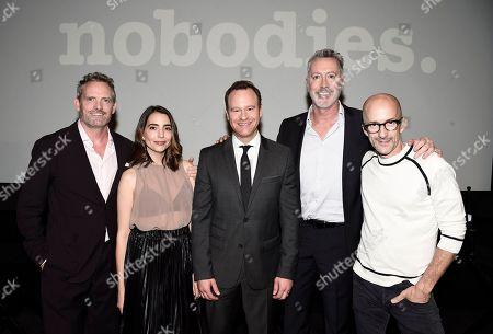 "Hugh Davidson, Rachel Ramras, Larry Dorf, Michael McDonald and Jim Rash seen at TV Land's ""Nobodies"" FYC Panel at The London Hotel, in Los Angeles, CA"