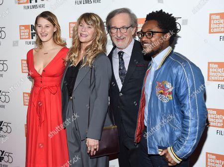 "Stock Picture of Destry Allyn Spielberg, Kate Capshaw, Steven Spielberg, Theo Spielberg. Filmmaker Steven Spielberg poses with his wife Kate Capshaw, daughter Destry Allyn Spielberg and son Theo Spielberg at the world premiere of ""Spielberg"", during the 55th New York Film Festival, at Alice Tully Hall, in New York"