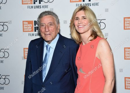 """Tony Bennett, Susan Benedetto. Singer Tony Bennett and wife Susan Benedetto attend the world premiere of """"Spielberg"""", during the 55th New York Film Festival, at Alice Tully Hall, in New York"""