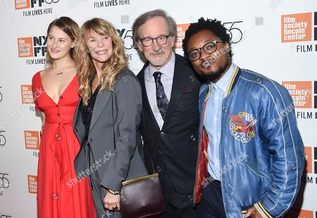 "Stock Image of Destry Allyn Spielberg, Kate Capshaw, Steven Spielberg, Theo Spielberg. Filmmaker Steven Spielberg poses with his wife Kate Capshaw, daughter Destry Allyn Spielberg and son Theo Spielberg at the world premiere of ""Spielberg"", during the 55th New York Film Festival, at Alice Tully Hall, in New York"