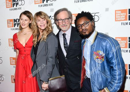 "Destry Allyn Spielberg, Kate Capshaw, Steven Spielberg, Theo Spielberg. Filmmaker Steven Spielberg poses with his wife Kate Capshaw, daughter Destry Allyn Spielberg and son Theo Spielberg at the world premiere of ""Spielberg"", during the 55th New York Film Festival, at Alice Tully Hall, in New York"