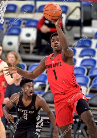 Ohio State forward Jae'Sean Tate during the second half of an NCAA college basketball game in the Phil Knight Invitational tournament in Portland, Ore