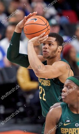 Michigan State guard Miles Bridges during the first half of an NCAA college basketball game in the Phil Knight Invitational tournament in Portland, Ore