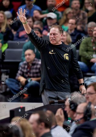 Michigan State head coach Tom Izzo during the first half of an NCAA college basketball game in the Phil Knight Invitational tournament in Portland, Ore