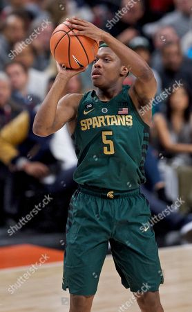 Michigan State guard Cassius Winston during the first half of an NCAA college basketball game in the Phil Knight Invitational tournament in Portland, Ore