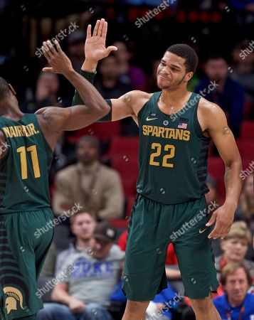 Michigan State guard Miles Bridges during the second half of an NCAA college basketball game in the Phil Knight Invitational tournament in Portland, Ore