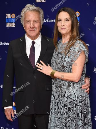 Dustin Hoffman, Lisa Hoffman. Dustin Hoffman, left, and Lisa Hoffman arrive at the 27th annual Independent Film Project's Gotham Awards at Cipriani Wall Street, in New York