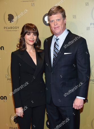 Stock Image of Host Rashida Jones, left, and George Foster Peabody Awards director, Dr. Jeffrey P. Jones, attend the 76th Annual Peabody Awards at Cipriani Wall Street, in New York