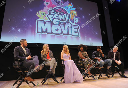Hasbro Studios Executive Vice President, Chief Content Officer Stephen Davis, right, and Hasbro Co-Heads of Storytelling Meghan McCarthy, second left, and Josh Feldman, left, join MY LITTLE PONY: The Movie stars Tara Strong (Twilight Sparkle), Uzo Aduba (Queen Novo) and Taye Diggs (Capper), center left to right, for an exclusive presentation of My Little Pony: The Movie at the Hasbro Entertainment Preview Event, in New York. MY LITTLE PONY: The Movie will be in theatres October 6, 2017