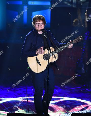 Singer-songwriter Ed Sheeran performs after receiving the Hal David Starlight Award at the 48th Annual Songwriters Hall of Fame Induction and Awards Gala at the New York Marriott Marquis Hotel, in New York