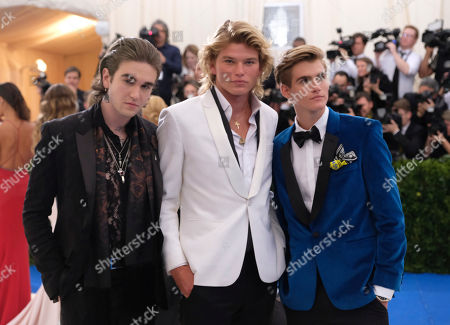 Stock Photo of Gabriel-Kane Day-Lewis, from left, Jordan Kale Barrett and Presley Walker Gerber attend The Metropolitan Museum of Art's Costume Institute benefit gala celebrating the opening of the Rei Kawakubo/Comme des Garçons: Art of the In-Between exhibition, in New York