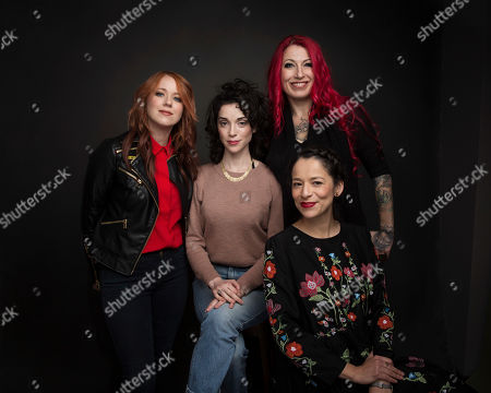 "Directors Roxanne Benjamin, from left, Annie Clark, Jovanka Vuckovic and Sofia Carillo pose for a portrait to promote the film, ""XX"", at the Music Lodge during the Sundance Film Festival, in Park City, Utah"