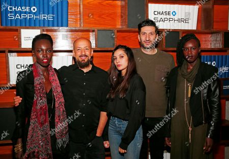 "Actress Mari Malek, left, director Tarik Saleh, actress Hania Amar, actor Fares Fares and actress Elizabeth Arjok from ""The Nile Hilton Incident"" pose for a photo at the Indiewire Photo Studio at Chase Sapphire on Main, during the 2017 Sundance Film Festival, in Park City, Utah"