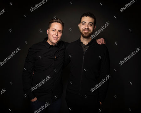 """Paul Raphael, right, and Felix Lajeunesse pose for a portrait to promote the film, """"Miyubi"""", at the Music Lodge during the Sundance Film Festival, in Park City, Utah"""