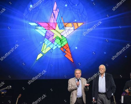 """Composer Andrew Lloyd Webber, left, and lyricist Tim Rice announce the new """"Jesus Christ Superstar"""" North American arena tour at a press conference in New York. NBC announced, that it will bring to broadcast television â?oeJesus Christ Superstar Live!,â?? the iconic 1971 Broadway rock opera by Webber and Rice. They will serve as executive producers with Marc Platt, Craig Zadan and Neil Meron"""
