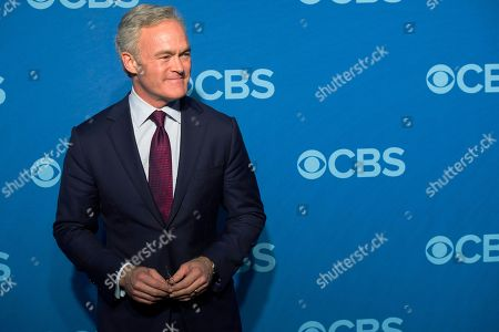 "CBS Evening News"" anchor Scott Pelley attends the CBS Upfront in New York. The Trump administration has been a boon for the cable news networks each night yet curiously not for the broadcast evening news programs, where a viewership slump contributed to Pelley losing his job last week as anchor of the ""CBS Evening News"