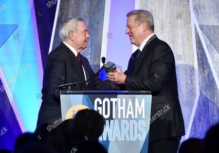 Dan Rather, Al Gore. Journalist Dan Rather, left, presents the tribute award to Al Gore at the 27th annual Independent Film Project's Gotham Awards at Cipriani Wall Street, in New York