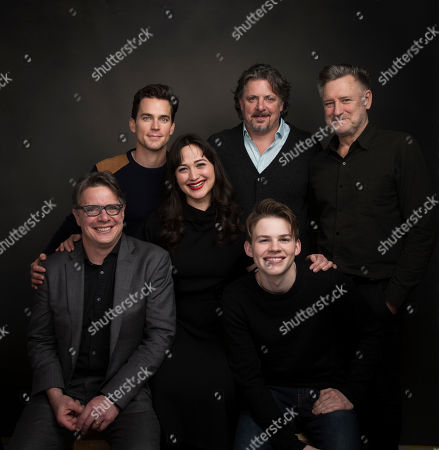 "Actor Matt Bomer, from rear left, actress Lily Gladstone, director Alex Smith, and actor Bill Pullman, director Andrew Smith, from front left, and actor Josh Wiggins pose for a portrait to promote the film, ""Walking Out,"" at the Music Lodge during the Sundance Film Festival, in Park City, Utah"