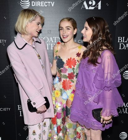 "Actors Lucy Boynton, left, Kiernan Shipka and Emma Roberts attend a special screening of ""The Blackcoat's Daughter"", hosted by A24 and DirecTV, at Landmark Sunshine Cinema in New York. Oz Perkins', whose father Anthony Perkins starred in ""Psycho,"" is making his directorial debut this spring with the psychological thriller ""The Blackcoat's Daughter."" He said he was inspired by the strange glamour of the classic film â?oeRosemaryâ?™s Baby.â"