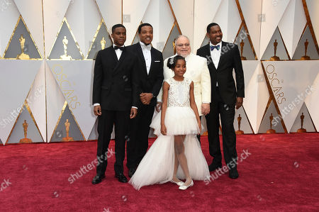 Jovan Adepo, from left, Russell Hornsby, Saniyya Sidney, Stephen Henderson, and Mykelti Williamson arrive at the Oscars, at the Dolby Theatre in Los Angeles