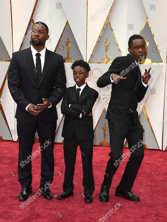 Trevante Rhodes, from left, Alex R. Hibbert and Ashton Sanders arrive at the Oscars, at the Dolby Theatre in Los Angeles