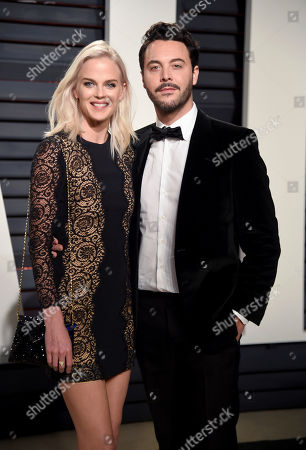 Model Shannan Click, left, and actor Jack Huston arrive at the Vanity Fair Oscar Party, in Beverly Hills, Calif