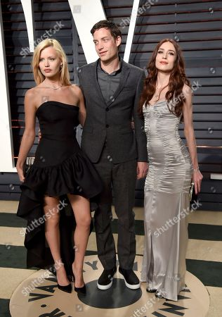 Georgia May Jagger, from left, James Jagger, and Elizabeth Jagger arrive at the Vanity Fair Oscar Party, in Beverly Hills, Calif