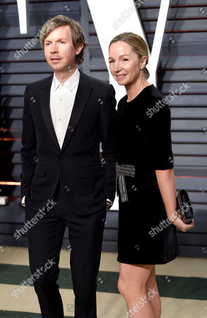 Stock Photo of Musician Beck, left, and actress Marissa Ribisi arrive at the Vanity Fair Oscar Party, in Beverly Hills, Calif