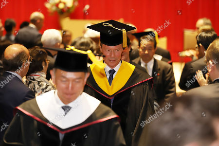 Grand Duke Henri of Luxembourg leaves Sophia University after he received an honorary doctorate from Sophia university in Tokyo