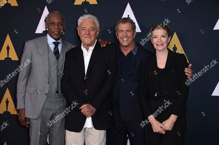 Danny Glover, from left, Richard Donner, Mel Gibson and Rene Russo arrive at the Richard Donner Tribute on in Beverly Hills, Calif