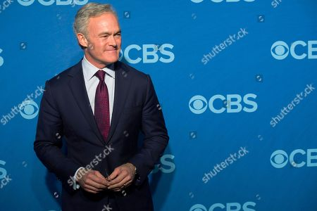 "Scott Pelley attends the CBS Upfront in New York. Pelley is out as ""CBS Evening News"" anchor, and he'll be returning to full-time work at the network's flagship newsmagazine ""60 Minutes."" Two people familiar with the situation, confirmed the reports"