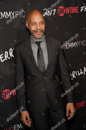 """John Ridley, executive producer of """"Guerrilla,"""" poses at a """"For Your Consideration"""" event for the Showtime series at the Writers Guild of America in Beverly Hills, Calif. Ridley is one of six filmmakers who have documentaries about the 1992 Los Angeles riots. The films are being released to mark the 25th anniversary of the most destructive civil disturbance in US history"""