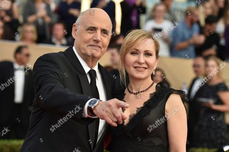 Jeffrey Tambor, left, and Kasia Ostlun arrives at the 23rd annual Screen Actors Guild Awards at the Shrine Auditorium & Expo Hall, in Los Angeles
