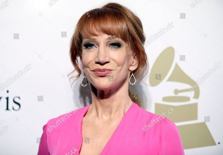 Comedian Kathy Griffin attends the Clive Davis and The Recording Academy Pre-Grammy Gala in Beverly Hills, Calif. Griffin says she knew her new photo shoot with photographer Tyler Shields would â?œmake noise.â?? She appears in a photo posted online, holding what looks like President Donald Trumpâ?™s bloody, severed head. Many on Twitter called for the comedian to be jailed. Griffin told photographer Shields in a video on his Twitter page Tuesday that they will have to move to Mexico to avoid federal prison for their latest collaboration